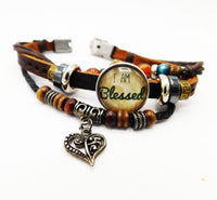 Leather Bracelet Gift Ideas Jewelry Snap Blessed Teen