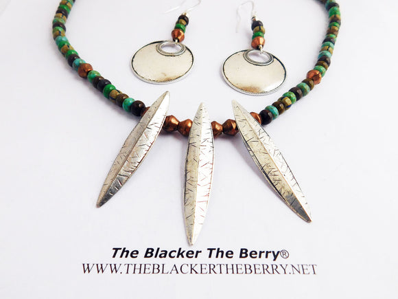 Tribal Spear Necklace Beaded Jewelry Set Silver Copper