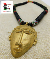 Large Mask Necklaces African Men Red Black Green Ethnic Afrocentric Beaded Face Jewelry
