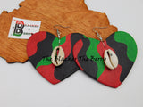 Heart Earrings Wooden Hand Painted RBG Cowrie Women Jewelry