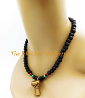 African Drum Necklace Beaded RBG Pan African Unisex Adjustable