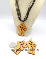 Fist Necklace Adjustable Wooden Jewelry Women Earrings Ethnic