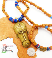 African Men Necklaces Ethnic  Wooden Blue Jewelry Mask Beaded The Blacker The Berry®
