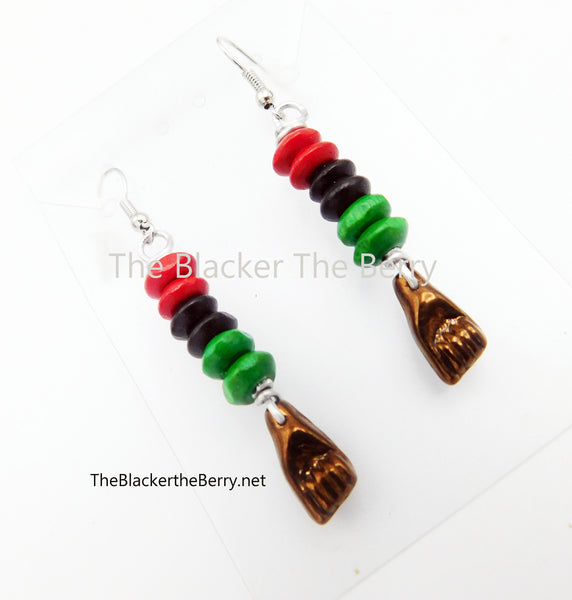Black Power Fist Earrings Beaded Jewelry Handmade Social Justice BLM