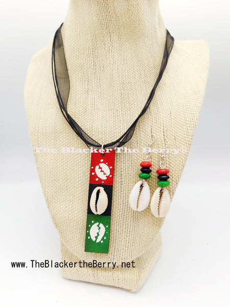 African Women Necklace Pan African RBG Jewelry Set Earrings