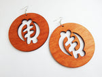 African Earrings Large Gye Nyame Wooden Earrings Ethnic Afrocentric Handmade