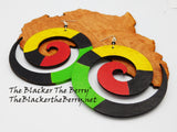 Swirl Earrings Rasta Jewelry Wooden Hand Painted Women Black Owned Business
