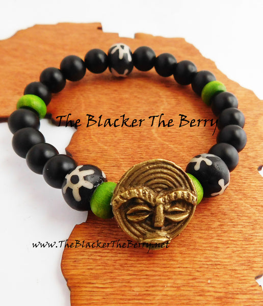 African Bracelet Men Beaded Jewelry Green Black
