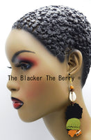 Wooden Silhouette Earrings Women Natural Hair Black Owned Business