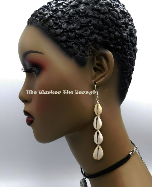 Cowrie Earrings Wire African Women Long Dangle Jewelry Black Owned Business