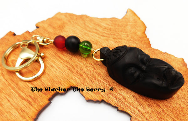 African Mask Wooden Ebony Keychain Carved RBG Gift Ideas