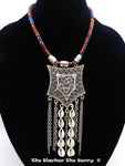 African Large Silver Pendant Ethnic Jewelry Women Handmade