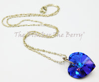 Heart Necklaces Heliotrope Blue Purple Silver Jewelry
