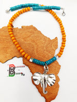 Elephant Necklace Women Summer Jewelry Orange Aqua Turquoise