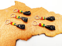 Black Power Fist Hair Accessories Loc Jewelry Dreads Rasta Set of 5 BLM Silver