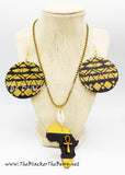 Africa Necklace Black Gold Handmade Hand Painted Jewelry Wooden