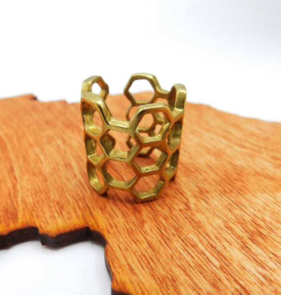 Honeycomb Brass Ring Adjustable Cage Ring Women Gift Ideas Ethnic Jewelry