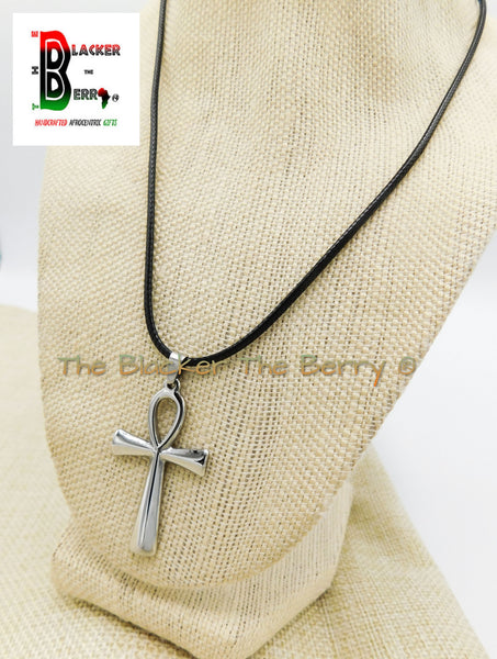 Ankh Charm African Egyptians Stainless Steel Jewelry Black Necklace Adjustable