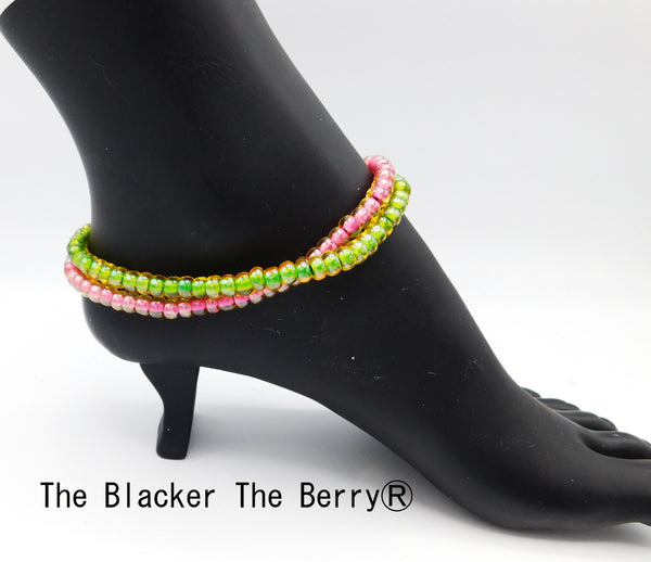 Pink Green Anklet Handmade Women Jewelry