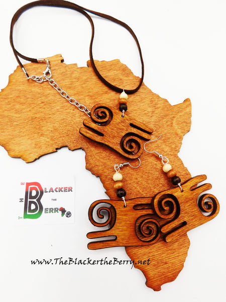 African Jewelry Set Adinkra Wooden Handmade The Blacker The Berry®