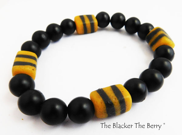 African Bracelet Large Big Beaded Jewelry Black Yellow
