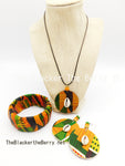 African Kente Jewelry Set Necklace Earrings Bracelet Handmade The Blacker The BerryⓇ