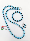Blue Black Necklace Beach Summer Jewelry Set Earrings Bracelet