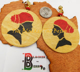 Black Women Hand Painted Earrings Gold Red Black Jewelry