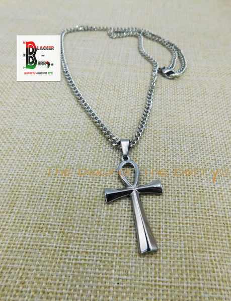 Ankh Charm African Egyptians Stainless Steel Jewelry Necklace 24 Inch