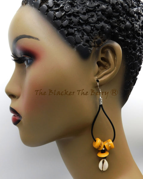 Leather Earrings African Ethnic Beaded Jewelry Black Yellow