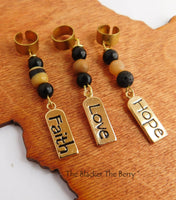 Hair Jewelry Gold Tone Beaded Hope Love Faith Loc Accessories Dreads