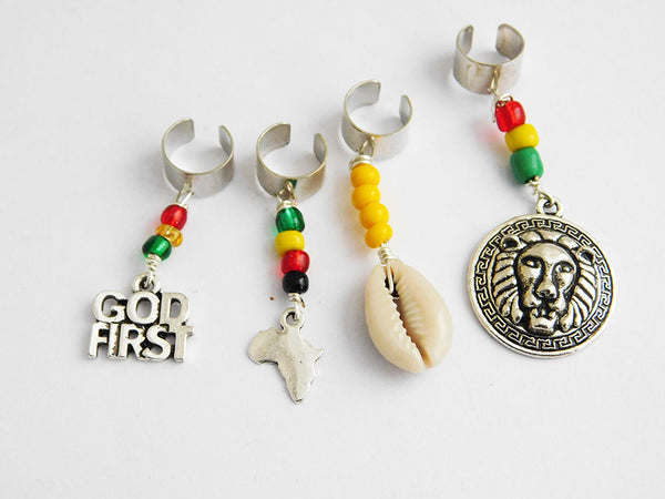 Lion Rasta Hair Accessories God First Cowrie Shell Hair Jewelry African