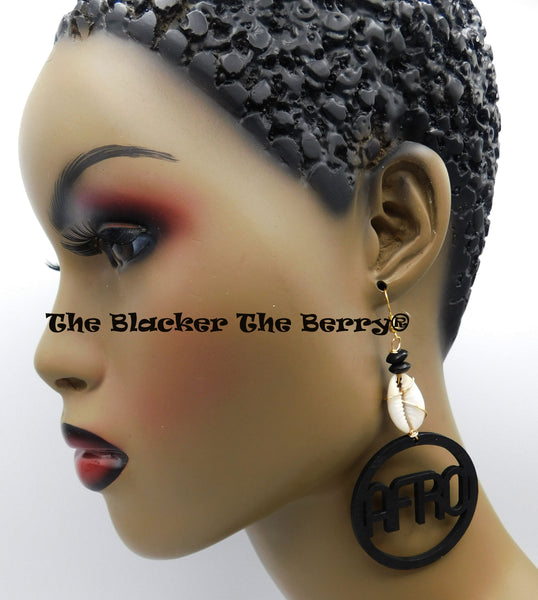 Afro Earrings Wooden Black Cowrie Black Owned Business
