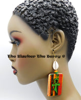 Ankh Earrings African Kente Handmade Cowrie Shell Jewelry