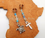 Hair Jewelry Silver Turtle Blue Beaded Ankh Accessories Dreads Locs Twist Braids Handmade