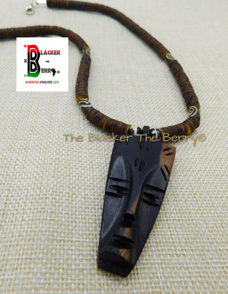 African Men Necklace Wood Carved Face Jewelry Beaded Afrocentric Brown Ethnic OOAK