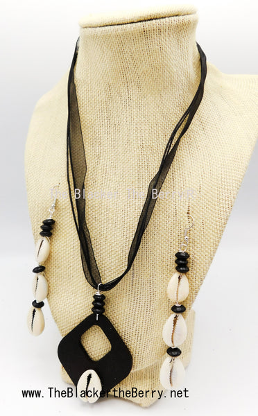 Cowrie Shell Jewelry Set Black Necklace Earrings Beaded The Blacker The BerryⓇ