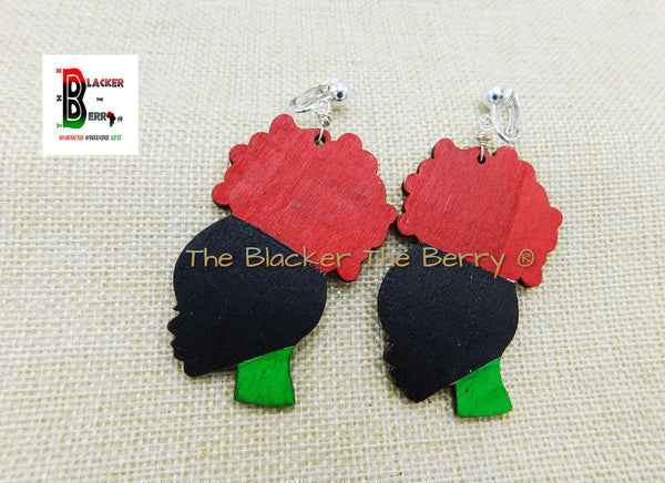 Black Women Silhouette RBG Clip On Earrings Wooden Jewelry Pan African Women Non Pierced