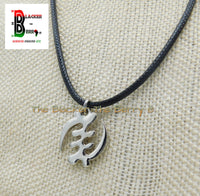 Silver Gye Nyame Charm African Adinkra Jewelry Black Necklace Adjustable
