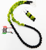 Black Green Necklace Glass Women Jewelry Set Earrings