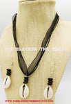 Cowrie Shell Jewelry Set Black Earrings Necklaces Gift Ideas