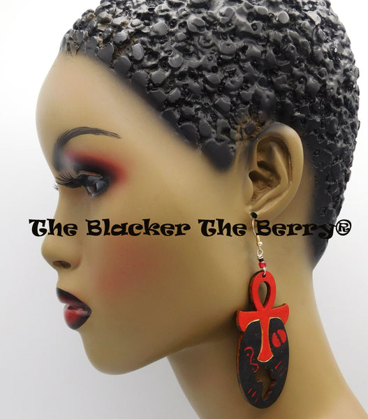 Africa Ankh Earrings Wooden Hand Painted Red African Ethnic Afrocentric