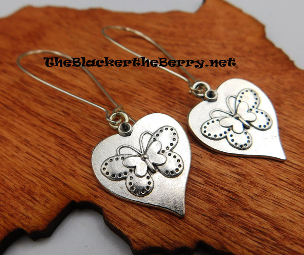 Butterfly Earrings Silver Tone Women Jewelry Gift Ideas