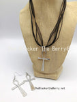 Silver Ankh Necklace Jewelry Set Earrings Women