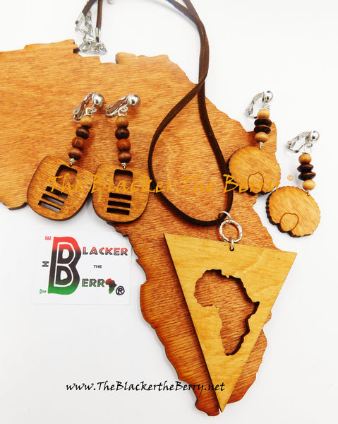 African Necklaces Ethnic Jewelry Set Earrings Women Wooden