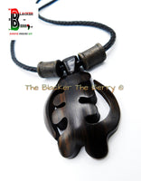 Gye Nyame Necklace Men Large Ebony Wooden Adinkra Jewelry Leather