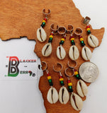 Cowrie Shell Rasta Hair Accessories Jewelry Set of 10 Handmade
