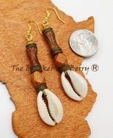 Cowrie Shell Earrings Wooden Jewelry Ethnic