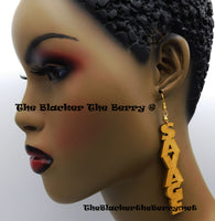 Wooden Earrings Savage Gold Hand Painted Jewelry