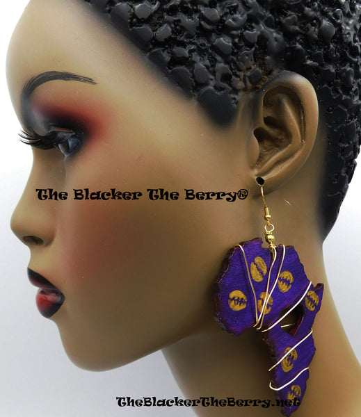 Africa Earrings Hand Painted Purple Gold Handmade Jewelry Women